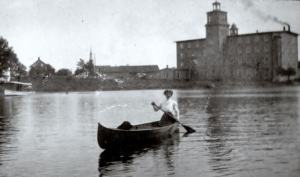 May Cornell on Mississippi with Hawthorne Mill in Background